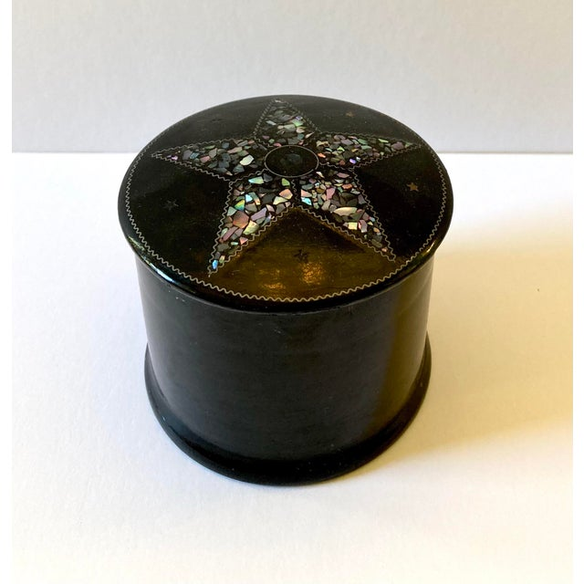 Black 19th C. French Papier-Mâché & Mother of Pearl Snuff Box For Sale - Image 8 of 8