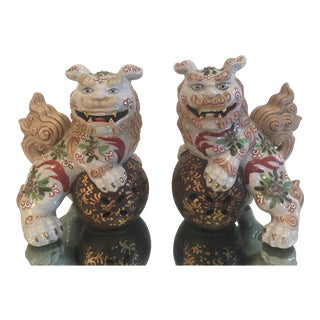 Chinese Porcelain Foo Dogs - a Pair For Sale