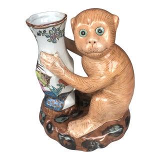 1960s Chinoiserie Porcelain Monkey Vase For Sale