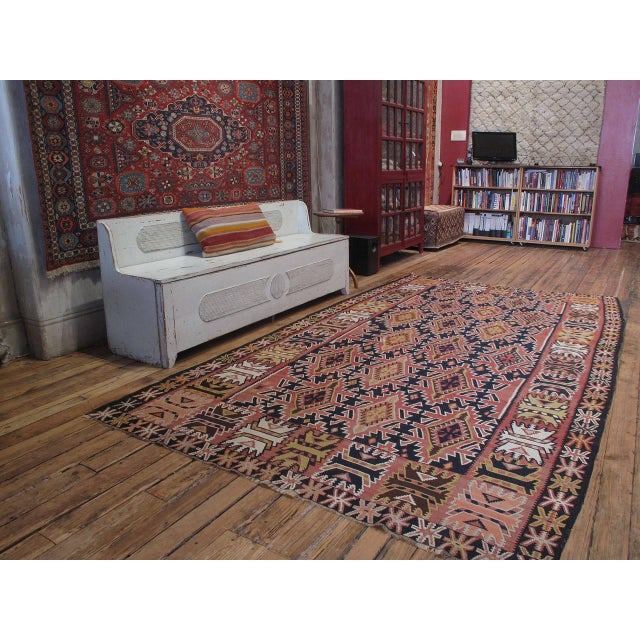 A large and sturdy Kilim from Azerbaijan with a well-known tribal design.