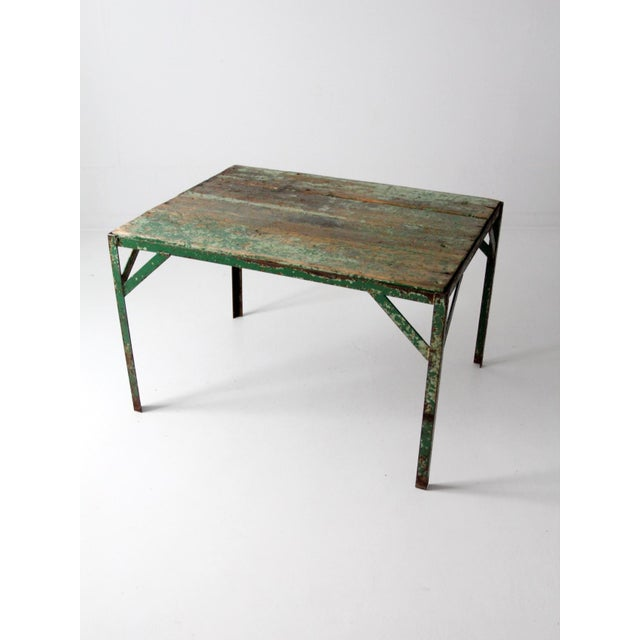 Vintage Wood Top Work Table For Sale - Image 6 of 11