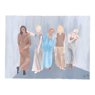 1990s Acrylic Painting of Women For Sale