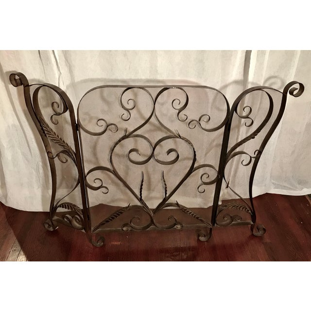 Metal Spanish Revival Mid-Century Wrought Iron Scroll Work Fireplace Screen For Sale - Image 7 of 7