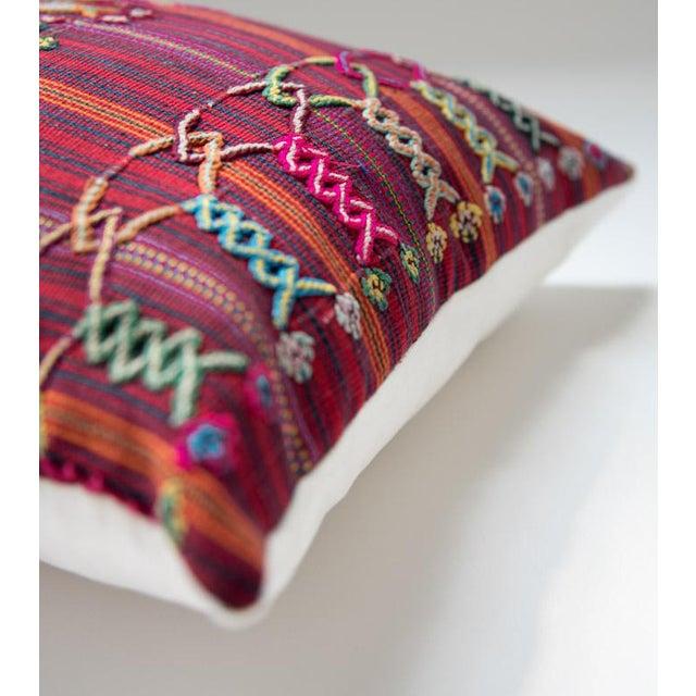 Vintage Guatemalan Red & Pink Striped Pillow - Image 2 of 6