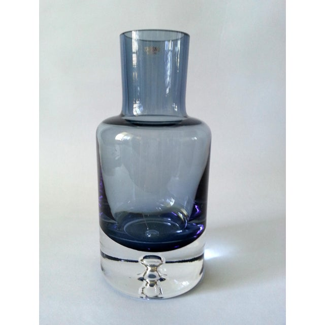 Vintage item from the late Mid-Century. Elegant vintage Krosno Poland hand blown blue glass crystal decanter, without...