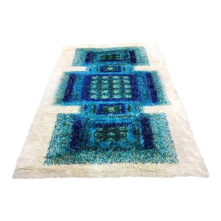 Vintage 1970s Rya Scandinavian Op Art Rug - 5′10″ × 10″ For Sale