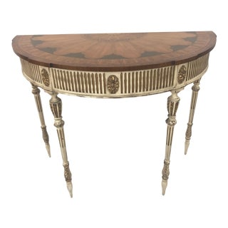 Sublimely Pretty Satinwood Inlay Painted and Gilded Demilune Console Table For Sale
