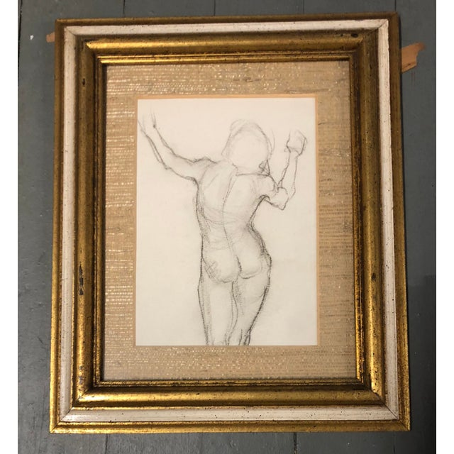 Art Deco Gallery Wall Collection 3 Original Female Nude Charcoal Studies For Sale - Image 3 of 6