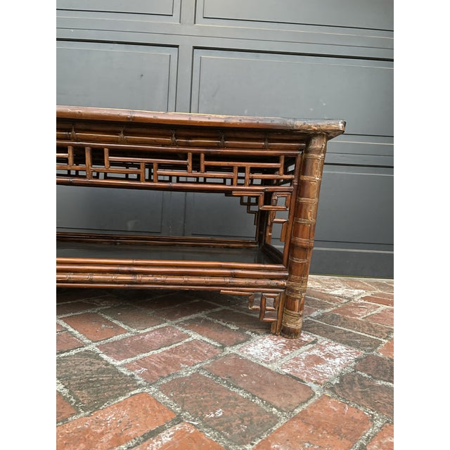 Two Tier Vintage Bamboo Coffee Table Black Lacquer Top For Sale - Image 4 of 6