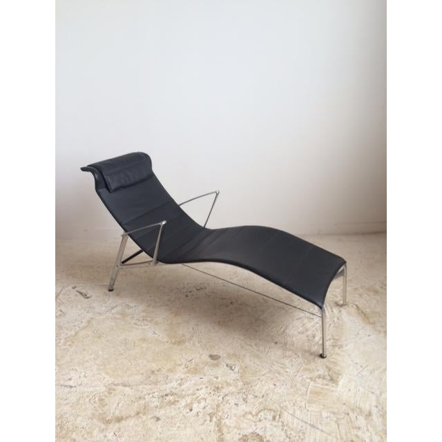 Sculptural Modern Black Leather Chaise - Image 4 of 4