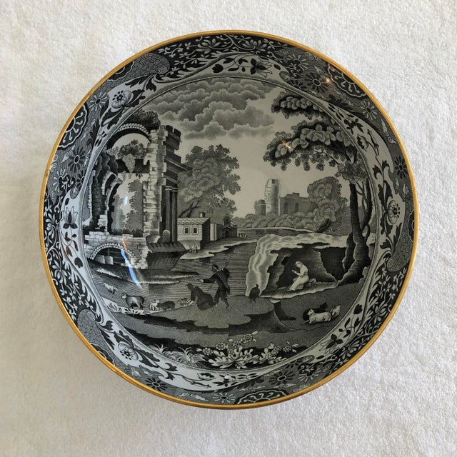 """Beautiful porcelain transferware bowl. Spode's iconic """"Italian Countryside"""" pattern, but rendered in black and white with..."""