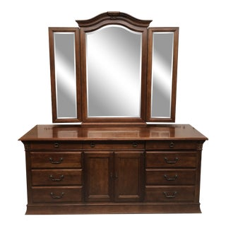 Hickory White Double Dresser + Mirror For Sale