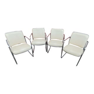 Mid-Century Modern Cream Armchairs With Welded Metal Frame- Set of 4 For Sale