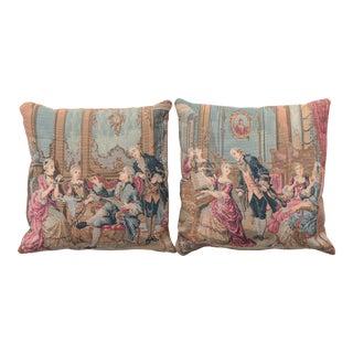 Rococo Salon Scene Tapestry Pillows - a Pair