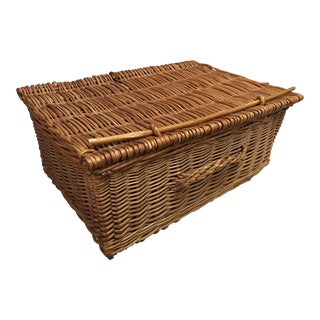 Vintage French Wicker Trunk For Sale