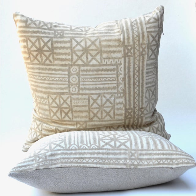 These are old early traditional mud cloth textiles made by the Bamana people of Mali, custom-made into pillows, hidden...