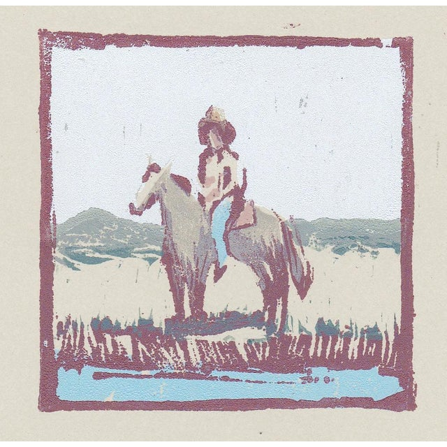 2020s One of a Kind Cowboy Woodblock Print by Michelle Farro For Sale - Image 5 of 7