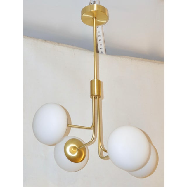 Contemporary Italian Modern Satin Brass & 4 White Murano Glass Globe Chandelier For Sale In New York - Image 6 of 13