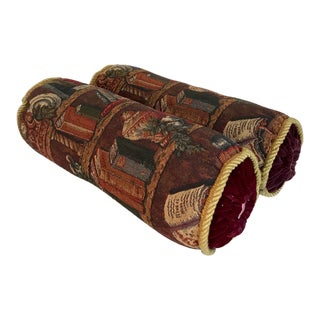 Vintage Bolster Pillows in Library Textile and Velvet - a Pair For Sale