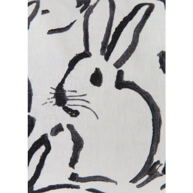 Abstract Black and White Bunny Large Lumbar Pillow For Sale - Image 3 of 5