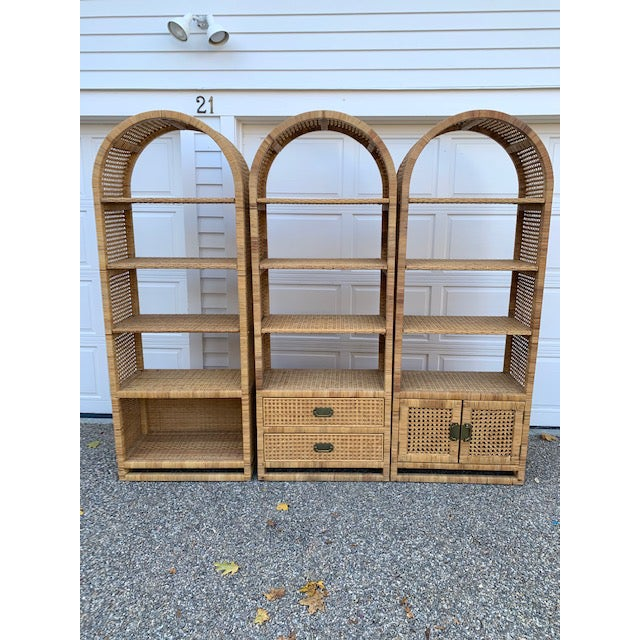 1970's Bielecky Style Rattan and Brass Bookshelves-Set of 3 For Sale - Image 13 of 13