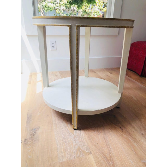 Oly Contemporary Round Mirrored & Smoky Top on White Wood Frame Side Table - Image 3 of 5