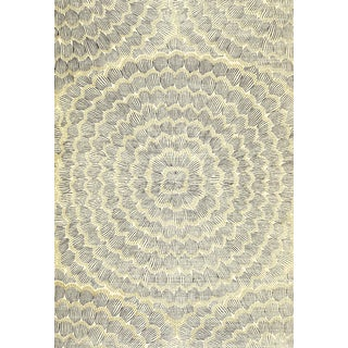 Sample - Schumacher X Celerie Kemble Feather Bloom Wallpaper in Onyx & Gold For Sale