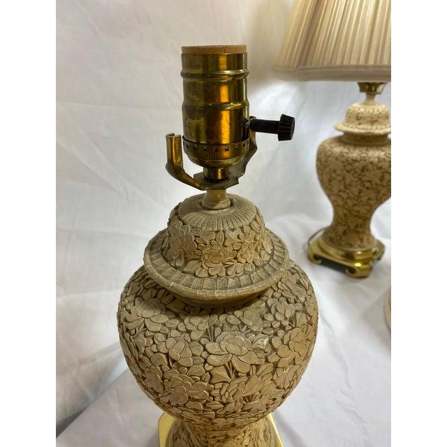 Vintage Cinnabar Ginger Jar Petite Lamps For Sale - Image 10 of 13