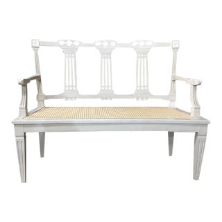 19th Century Swedish Louis XVI Painted & Caned Sofa For Sale