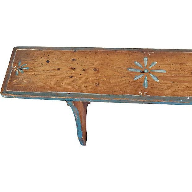 1930s Hand-Painted Farmhouse Country Bench For Sale - Image 9 of 13