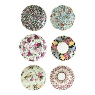 Vintage Chintz Floral Saucers - Set of 6