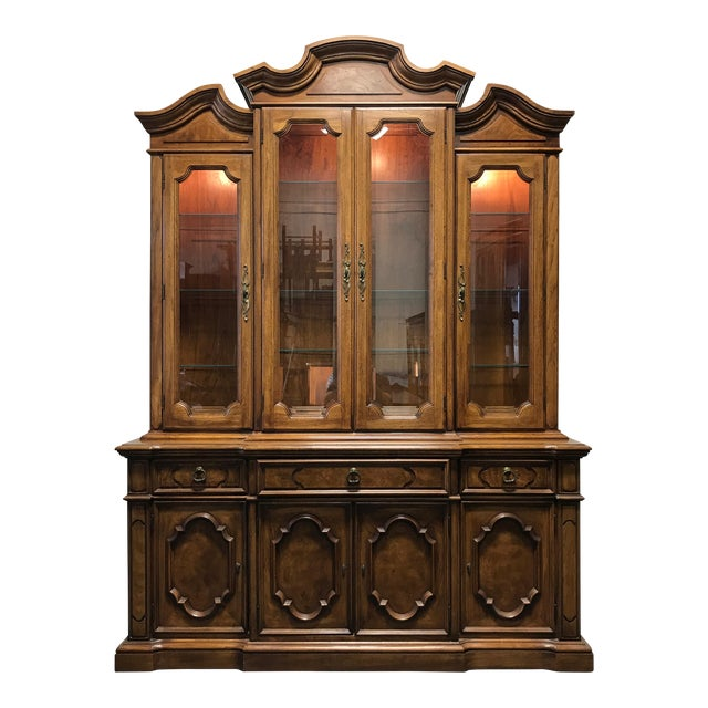 THOMASVILLE Ceremony Collection Burl Walnut Breakfront China Display Cabinet - Image 1 of 11