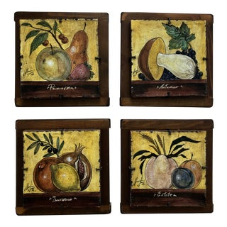 Italian Painted Tiles - Set of 4 For Sale