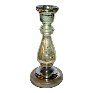 Antique 19th Century Mercury Glass Candlestick For Sale