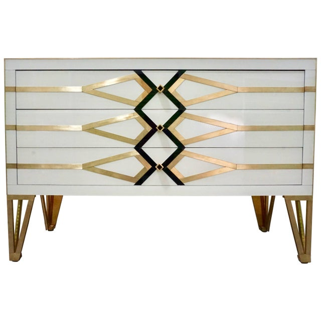 Contemporary Italian Art Deco Gold Brass Credenza For Sale - Image 13 of 13