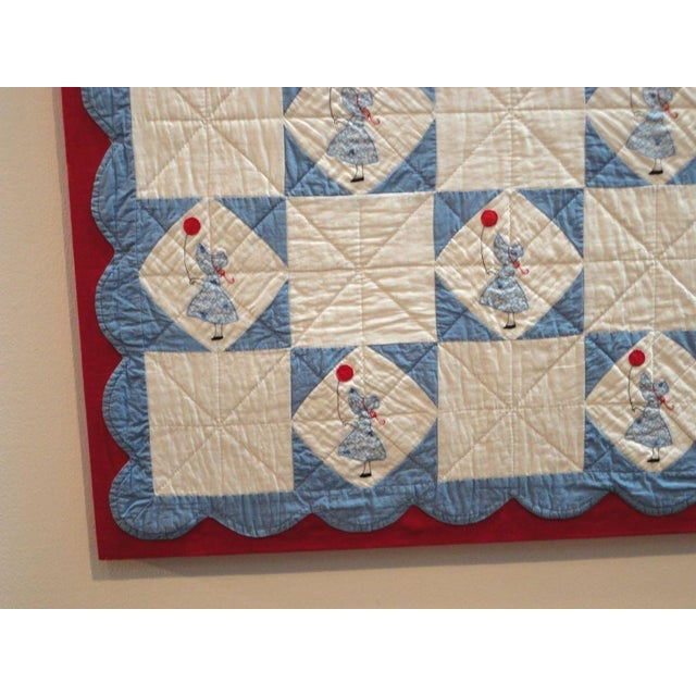 Folky Mounted Red/White/Blue Sunbonnet Sue Crib Quilt with Balloon For Sale - Image 4 of 7