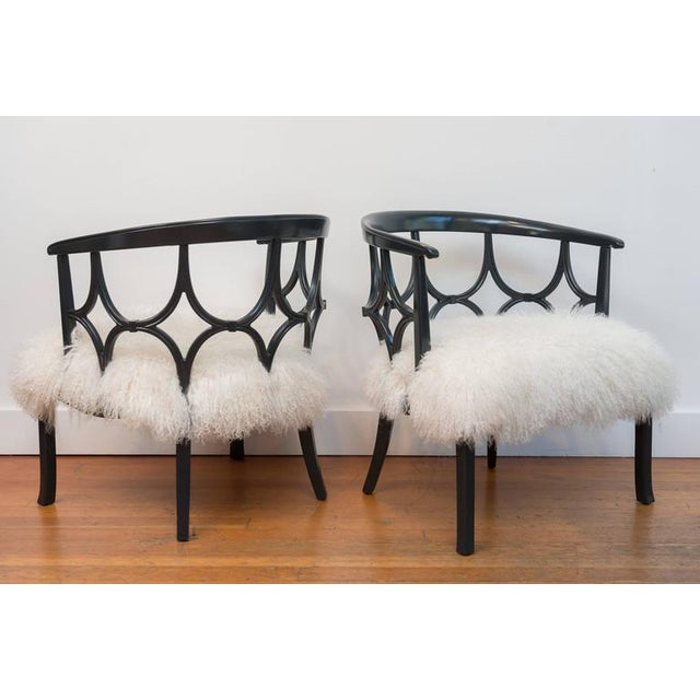 Grey Lacquered Mongolian Sheep Seat Armchairs - a Pair - Image 4 of 9