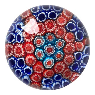 """Vintage Murano 'Millefiori' 4""""Glass Paper Weight For Sale"""