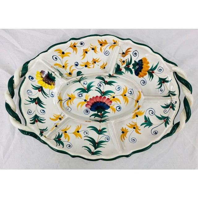 Shabby Chic Vintage Hand Crafted Italian Ceramic Serving Platter For Sale - Image 3 of 13