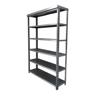 Fully-Restored Vintage Industrial 1920s-'30s Metal Shelving Bookcase in Polished Steel Finish