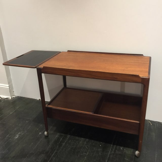 Mid-Century Modern Kofod Larsen for G-Plan Drop Leaf Bar Cart For Sale - Image 3 of 11
