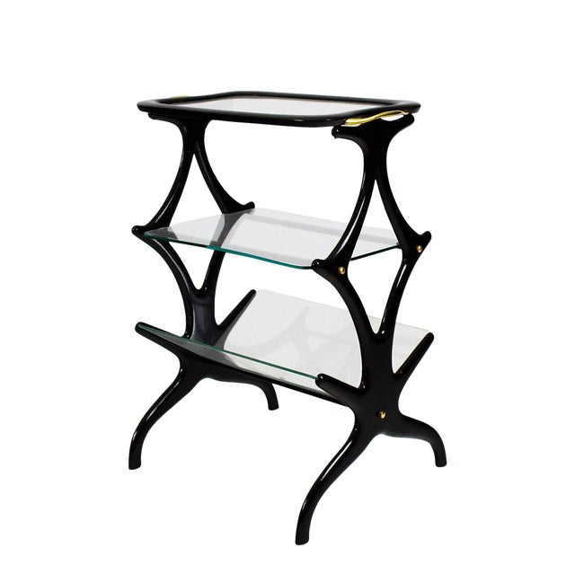 1950´s Sidetable With Magazine Rack by Cesare Lacca, Beech, Glass, Brass - Italy For Sale