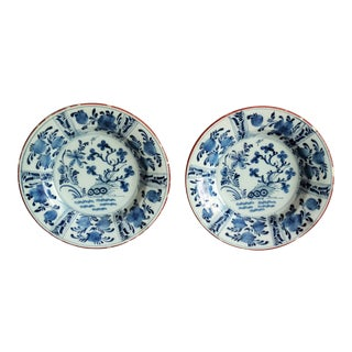 18th-C Delft Chinoiserie Plates, Pair Blue & White For Sale