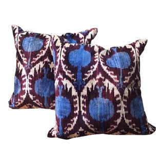 Boho Chic Purple and Teal Pillows - a Pair For Sale