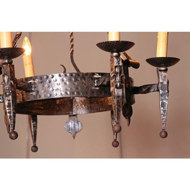 Early 20th Century French Wrought Iron Six-Light Chandelier With Fleur-De-Lys For Sale - Image 9 of 10