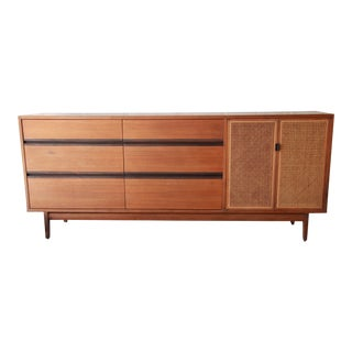 Kipp Stewart for Calvin Mid-Century Modern Walnut and Cane Dresser or Credenza For Sale
