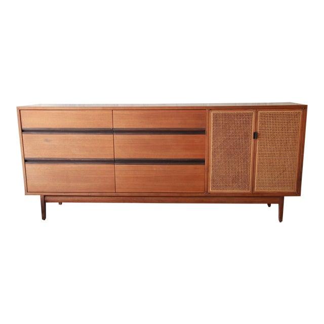 Kipp Stewart for Calvin Mid-Century Modern Walnut and Cane Dresser or Credenza For Sale