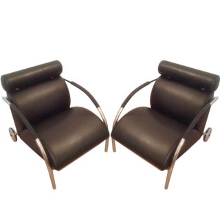 Leather Peter Maly Lounge Chairs - A Pair