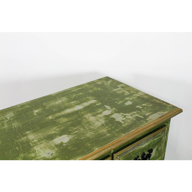 1960's Queen Anne Style 3-Drawers Green Console Table For Sale In Miami - Image 6 of 12