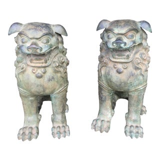1970's Vintage Bronze Temple Foo Dogs-a Pair For Sale